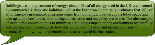 Buildings use a large amount of energy: about 40% of all energy used in the UK is consumed by commercial & domestic buildings, whilst the European Commission estimates that 35% of all of Europe's greenhouse emissions come from buildings. They occupy a lot of space and take up a lot of resources, both during construction and once they are in use. The ultimate goal of sustainable construction is to minimize a building's impact on the environment by carefully considering how it is designed, how it is built, how it is used and maintained, and — eventually — how it will be demolished once its useful life has ended.