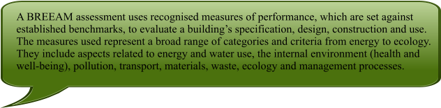 A BREEAM assessment uses recognised measures of performance, which are set against established benchmarks, to evaluate a building's specification, design, construction and use. The measures used represent a broad range of categories and criteria from energy to ecology. They include aspects related to energy and water use, the internal environment (health and well-being), pollution, transport, materials, waste, ecology and management processes.